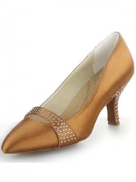 Women's Satijn Cone Heel Closed Toe With Bergkristal High Heels