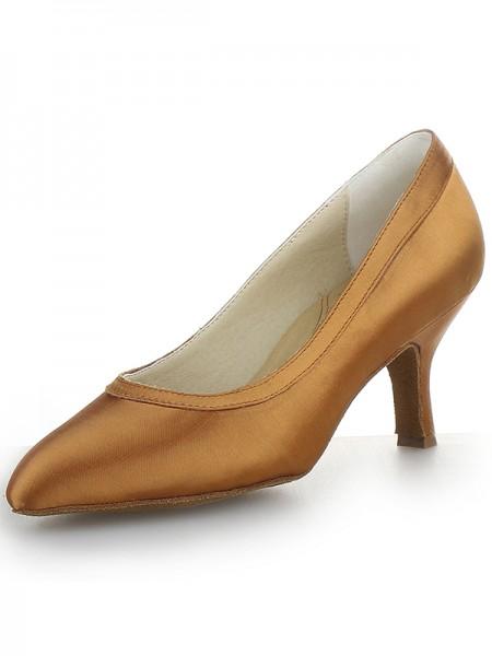 Women's Satijn Closed Toe Cone Heel High Heels