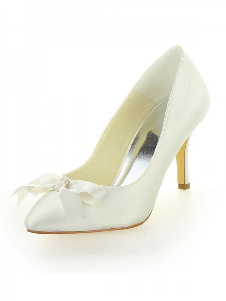 Women's Stiletto Heel Satijn Closed Toe With Strik Ivory Wedding Shoes
