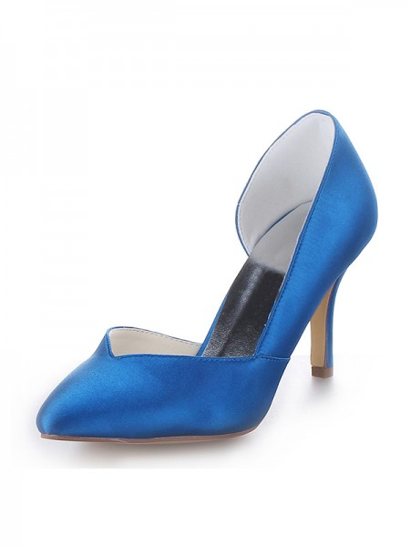 Women's Cone Heel Satijn Closed Toe High Heels