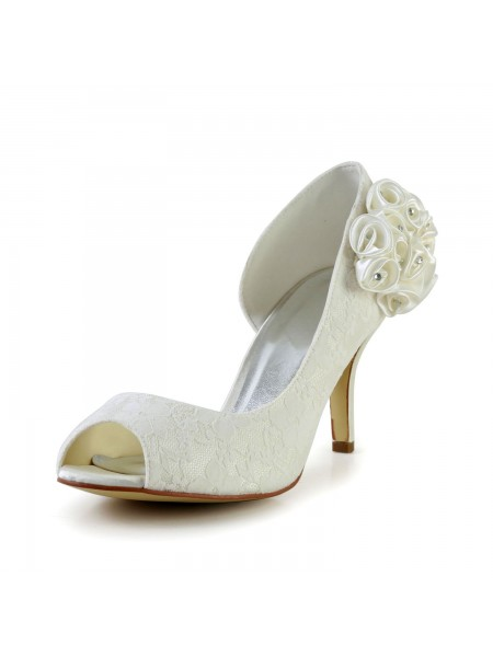 Women's Trendy Stiletto Heel Satijn Ivory Wedding Shoes With Flower