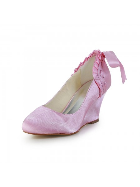 Women's Unique Satijn Wedge Heel Closed Toe Pink Wedding Shoes