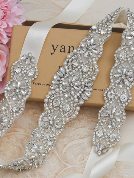 Stylish Satin Sashes With Rhinestones/Imitation Pearls