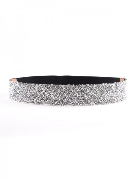 Gorgeous Elastic Imitation Leather Sashes With Rhinestones
